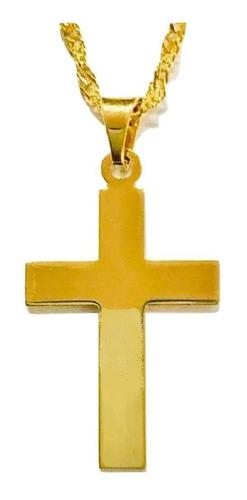 cruz plana y cadena torsal 45cm l x 2mm a chapa de oro