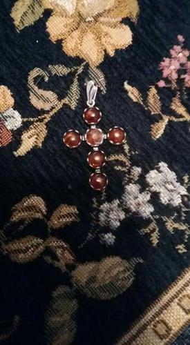 cruz plata  925 con ambar