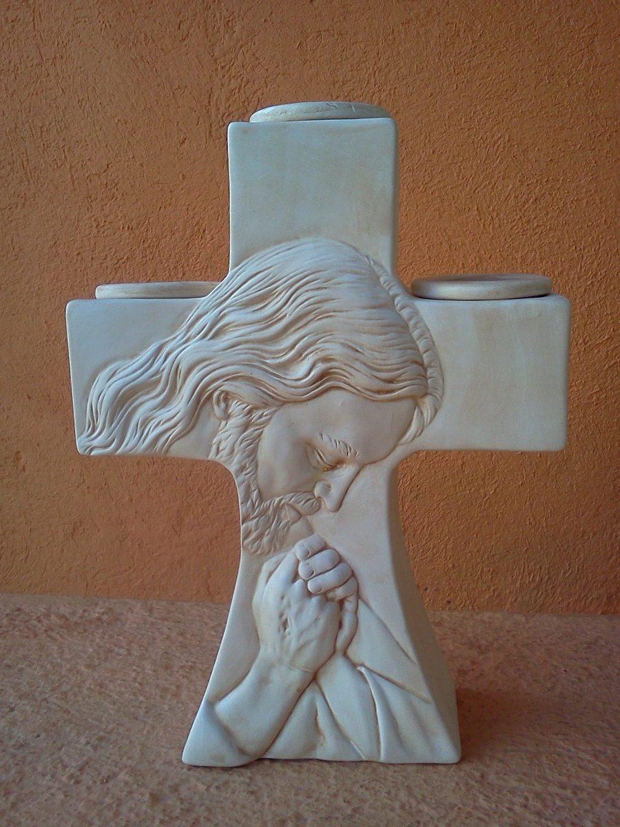 Cruz porta velas de cristo para bautizo en - Como pintar azulejos a mano ...