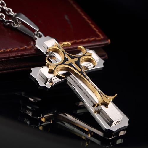cruz secreta colar corrente pingente em aço inox reforçado