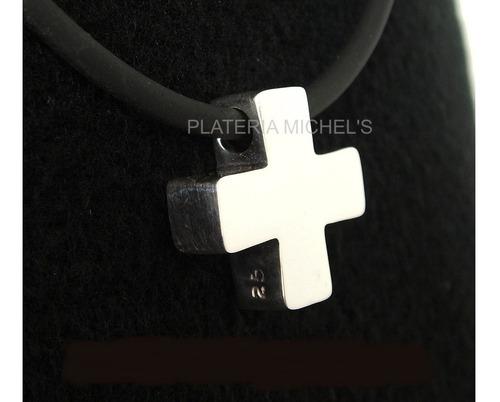 cruz suiza grande con caucho en plata ley 0.925