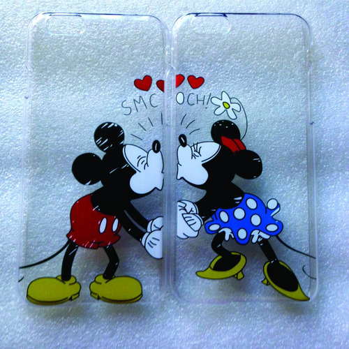 crystal case para iphone 2 piezas mickey y minnie besándose