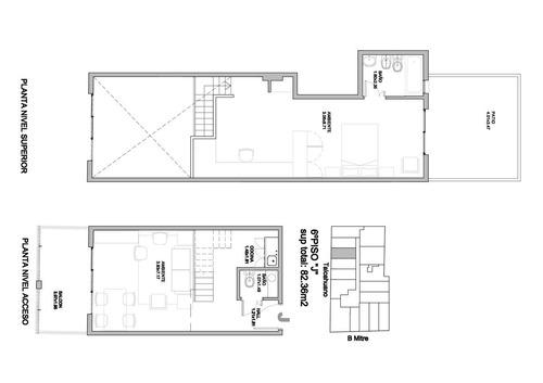 ctro -talcahuano 109  -2 gdes amb- duplex tipo loft c/ tza en 2 pisos - exc.vista   -apto prof./.- lum.