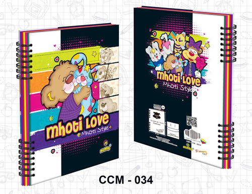 cuaderno 5 materias mhotitas, 180 hojas, tamaño 27.8 x 21