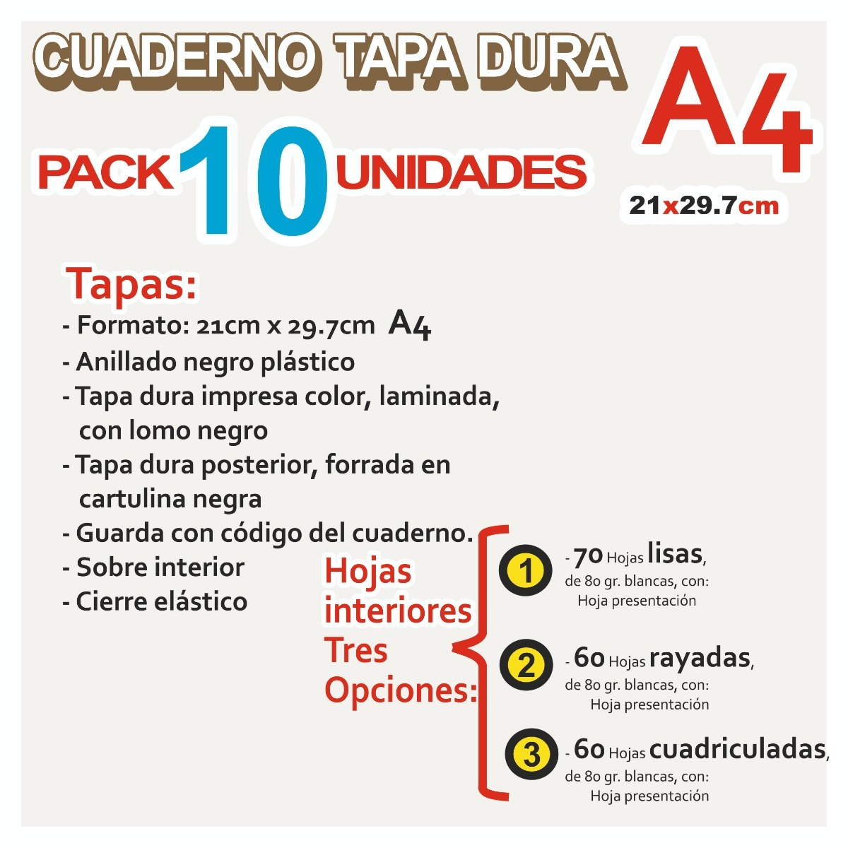 PACK DE 10 UNIDADES CUADERNO ESPIRAL 80 HOJAS CUADRICULA TAPA DURA