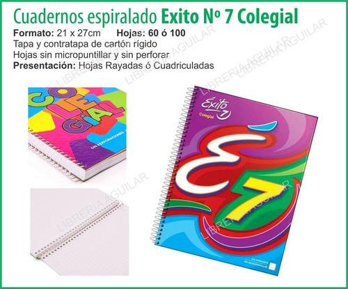 cuaderno colegial exito 60 hojas espiral 21x27 e7 abc