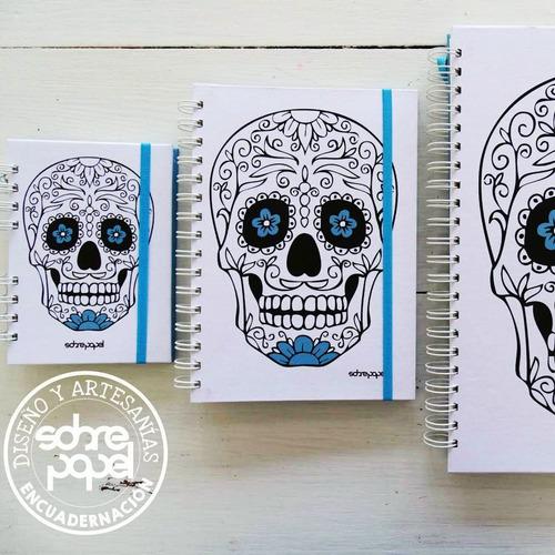 cuaderno con espiral, tapa dura, diseño propio, 3  tamaños.