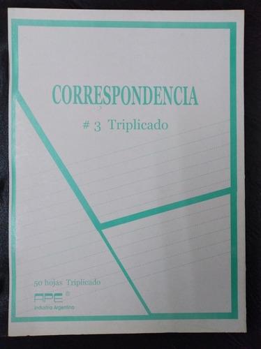 cuaderno correspondencia triplicado nº3 x 5 unidades