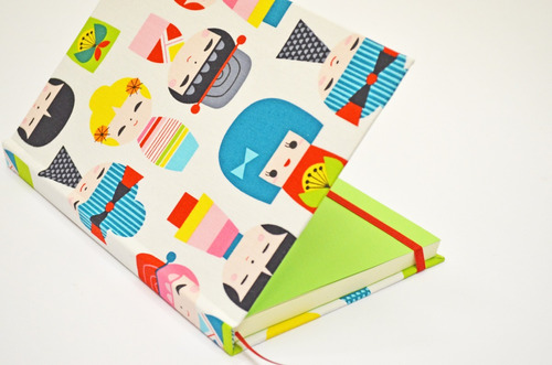 cuaderno cosido a mano tela importada: muñeca kokeshi