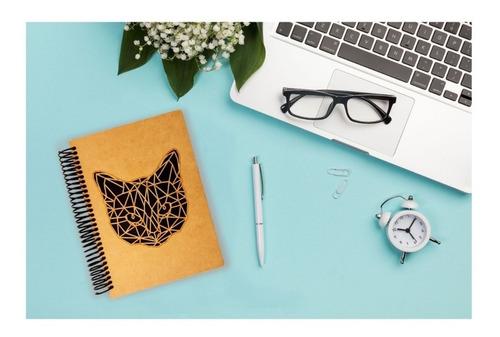 cuaderno de madera gato minimalista calado art14313