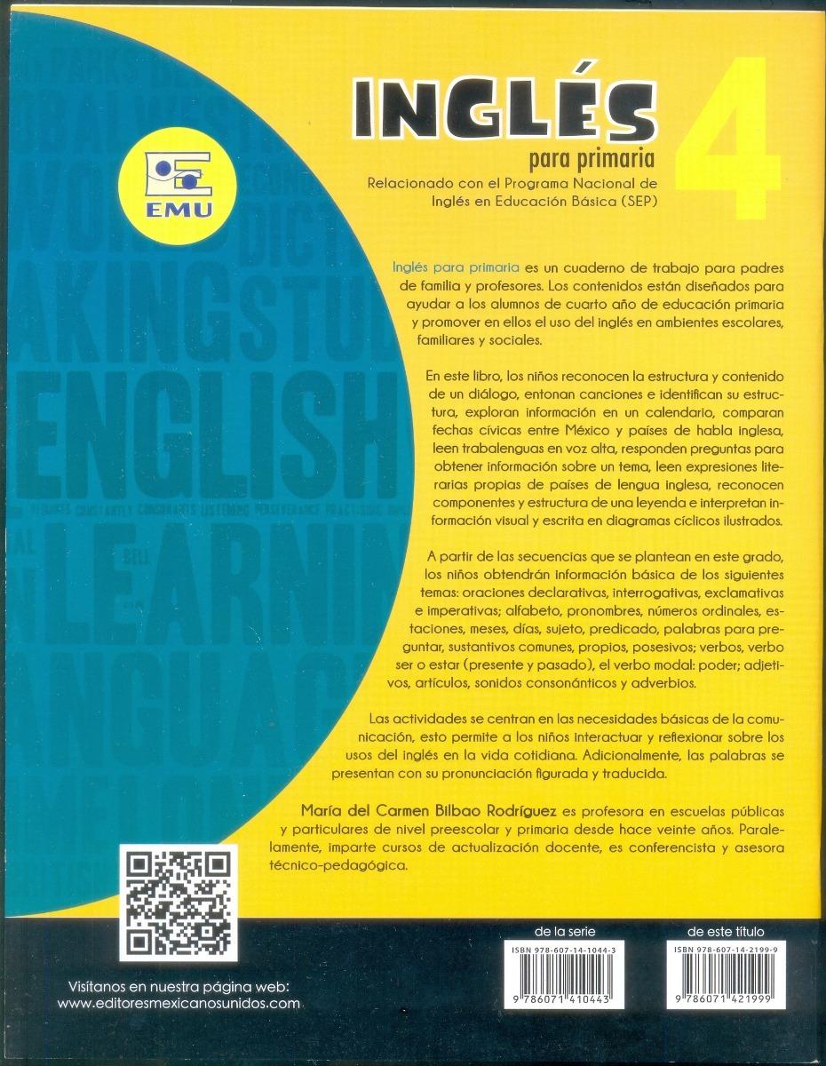 Cuaderno De Trabajo Inglés 4o Grado De Primaria - $ 40.00