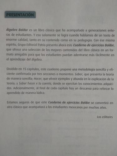 cuaderno ejercicios algebra baldor  nueva edicion
