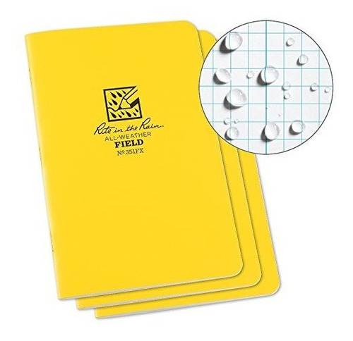 cuaderno grapado rite in the rain, cuadro grande, amarillo.