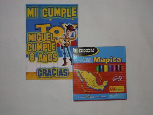 cuaderno para colorear personalizado y colores o crayolas
