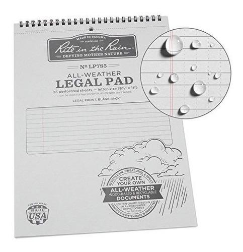 cuaderno rite in the rain, patron legal, gris, 21.59 x 27.94