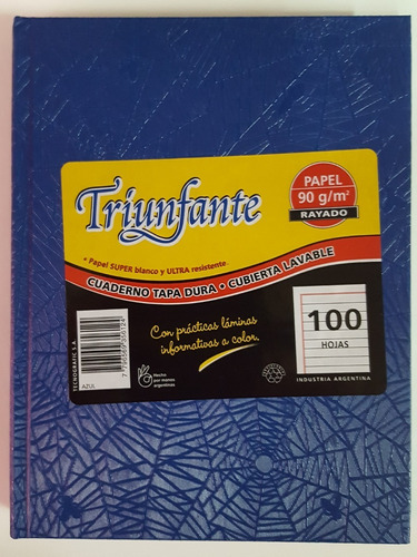 cuaderno triunfante 100 hojas cuadri. 5 unidades tapa dura
