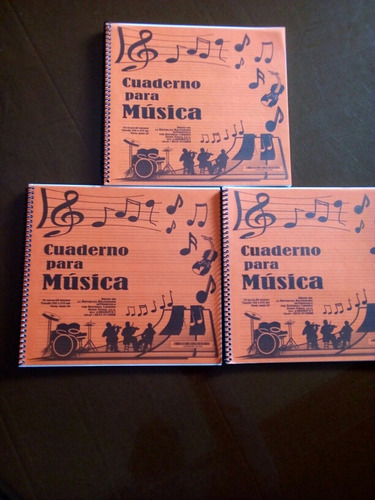 cuadernos de musica pentagramados, colores varios