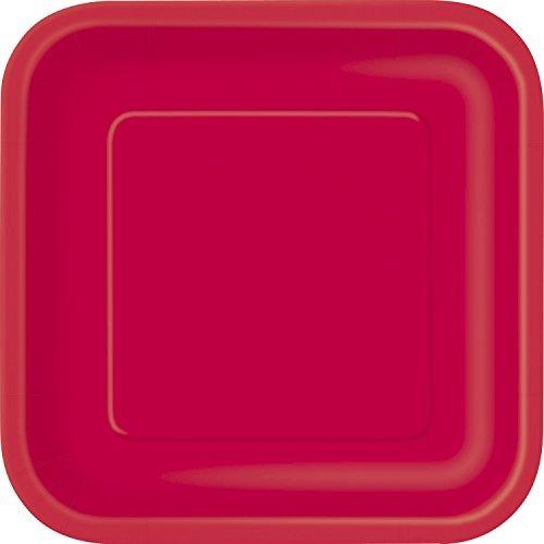cuadrado de la torta de papel rojo placas, 16ct
