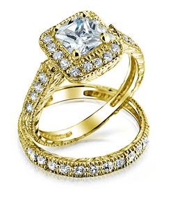 1760 elegante de princesa Diamante Anillo Anillo Acero Inoxidable Simulado Pavé para Mujer