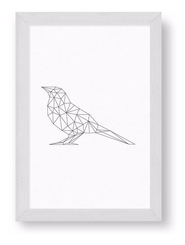 cuadrito chato blanco 20x30  - origami bird
