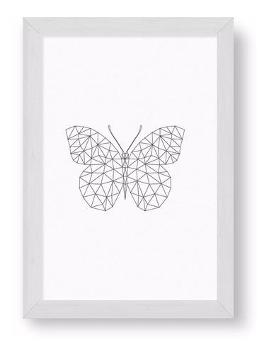 cuadrito chato blanco 20x30  - origami butterfly