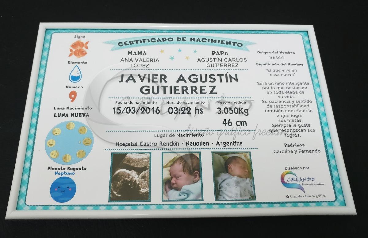 Cuadritos Certificado De Nacimiento Del Bebe - $ 500,00 en Mercado Libre