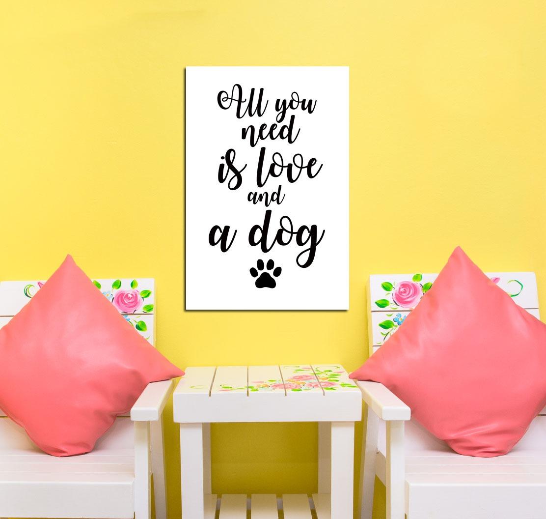 Cuadro 20x30cm Love Dog Pet Perro Amor Mascota Animal Frase