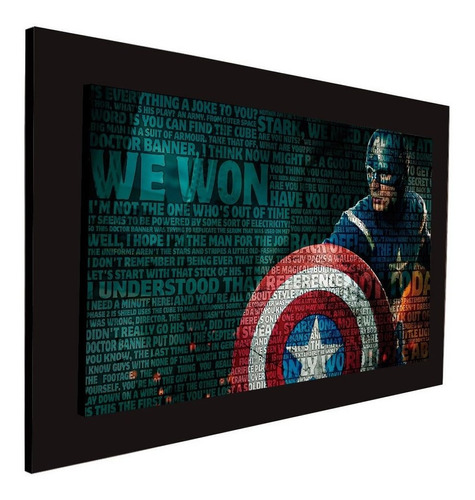 cuadro 60x40cms decorativo capitanamerica letras + envío