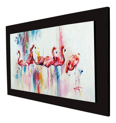 cuadro 60x40cms tipo oleo flamingos decorativo