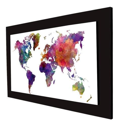 cuadro 60x40cms tipo oleo mapamundi decorativo