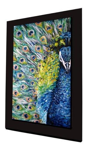 cuadro 60x40cms tipo oleo pavoreal decorativo