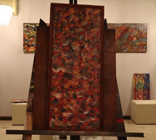 cuadro abstracto pintado a mano con marco.