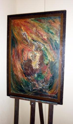 cuadro abstracto. sobre tela, en óleo y técnica mixta,