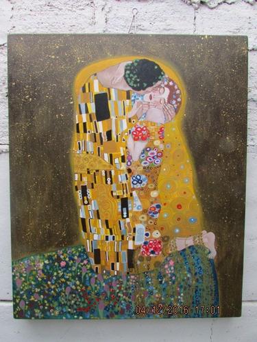 cuadro acrilico copia el beso de klimt