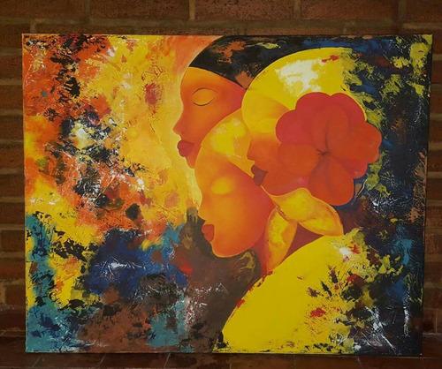 cuadro al óleo acrílico texturas mixtas africanas