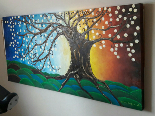 cuadro al óleo árbol de la vida.
