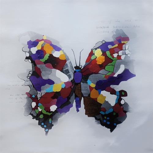 cuadro al oleo butterfly / cuadro decorativo moderno 80x80cm