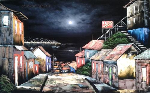 cuadro al oleo  cerro de valparaiso