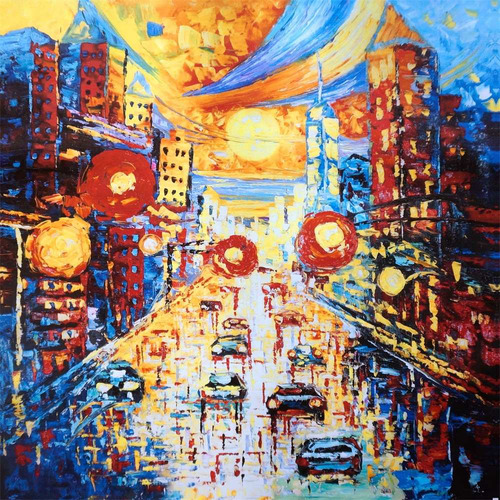 cuadro al oleo city/ cuadro decorativo moderno 80x80cm
