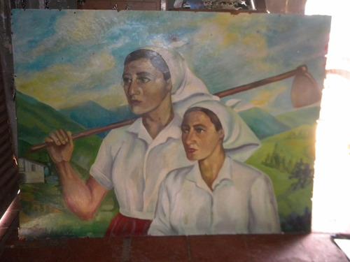 cuadro al oleo de 2 mujeres campesinas sin marco  $ 399