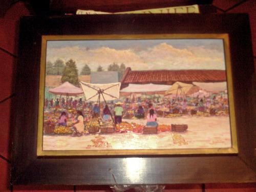 cuadro al oleo de a garcia lopez mercado sobre madera montad