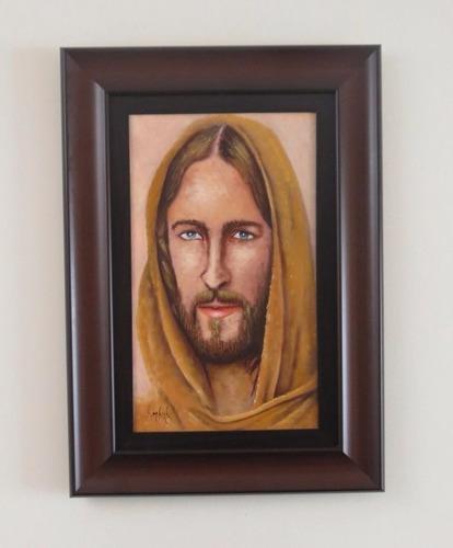 cuadro al oleo de jesus , enmarcado!