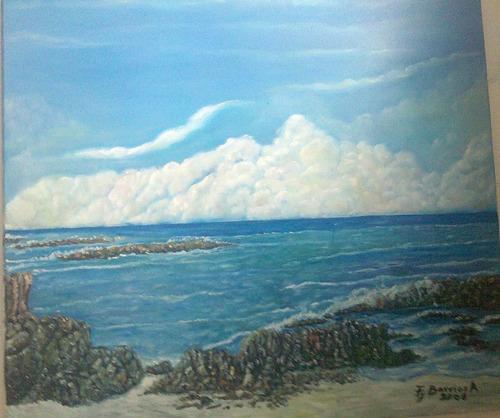 cuadro al oleo de marina en azul