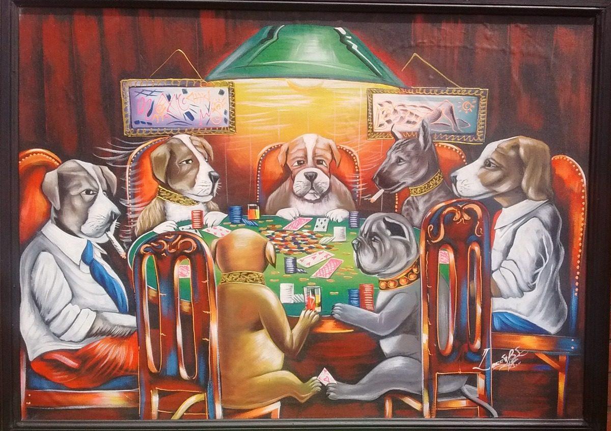Cuadro Al Oleo En Tela Perros Jugando Poker 110 X 80 Cm 11 500