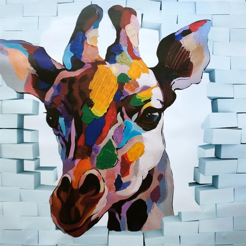cuadro al oleo jirafa/ cuadro decorativo moderno 80x80