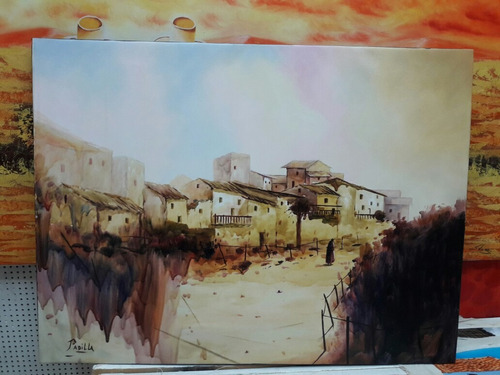 cuadro al oleo paisaje andino.pinturas para sala hogar