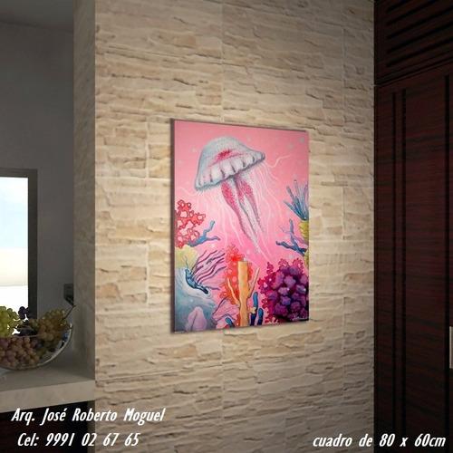 cuadro al oleo pintura medusa colores 80 x 60cm