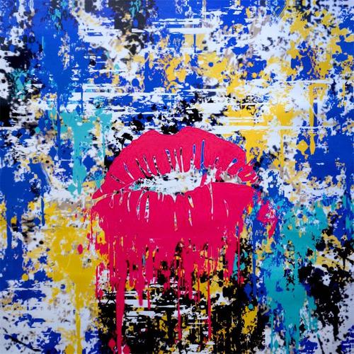cuadro al oleo secret love/ cuadro decorativo moderno 80x80