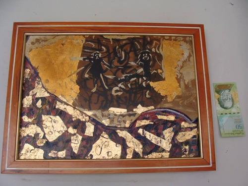 cuadro al oleo sobre madera con relieves lov14