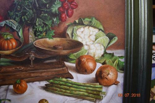 cuadro al óleo temática bodegón cálido de verduras!